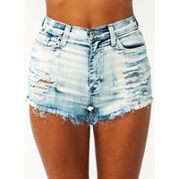 Bleached Out Distressed Shorts - GoJane.com