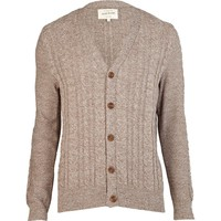 Brown cable knit V neck cardigan - cardigans - sweaters / cardigans - men