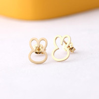 open rabbit shape stud earrings by bythecoco on Etsy