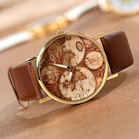 world map Watch, Fashion Wrist Watch Artificial Leather Watch Retro Style Women's Watch, men wrist watch PB058