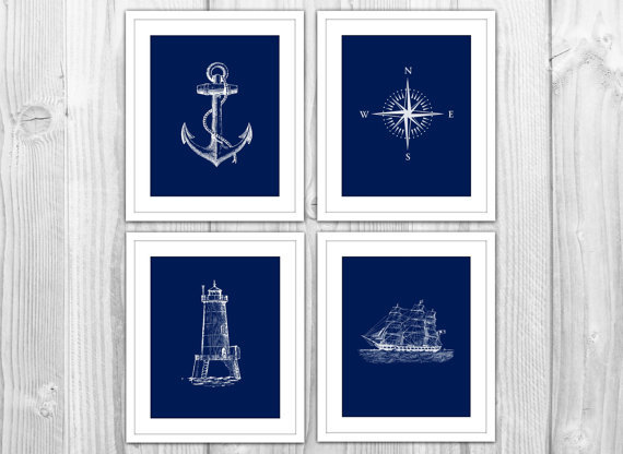 Navy nautical set of 4 art prints navy from bysamantha for Navy and white bathroom accessories