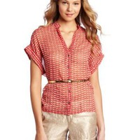 Willow &amp; Clay Women&#x27;s Button Up Print Blouse