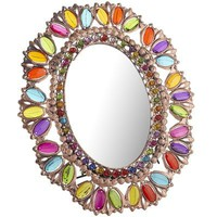 Oval Gemmed Filigree Mirror