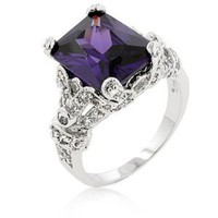 14k Whitegold Rhodium Bonded Anniversary Style Ring with Princess Amethyst Solitaire and Chanel Set White CZs Embellishing the Band - Size: 5-10, 9