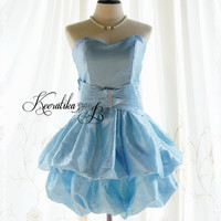 Symphony Loved Queen - Light Blue Bubble Cocktail Prom Party Wedding Homecoming Bridesmaid Bridal Dress