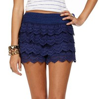 Navy Pull On Crochet Short