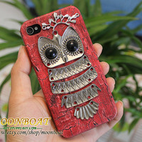 Red Hard Case Cover With Silvery Owl Branch for iPhone 4 4g,iPhone 4s