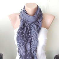 NEW 2012 Spring Model Dark Grey Color Web Scarf from 100 by Periay
