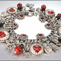 Charm Bracelet Silver Lucky Lady Bug Vintage by BlackberryDesigns