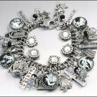 Charm Bracelet Silver Screen Couples Vintage by BlackberryDesigns