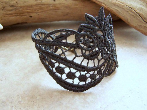 Charcoal grey lace bracelet | StitchesFromTheHeart - Jewelry on ArtFire