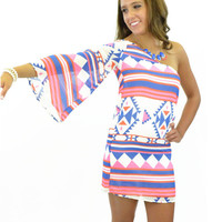 Santiago Aztec Single Bell Sleeve Dress