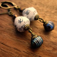 Earrings Handmade Recycled Paper Beads Dangle Dewdrop | CreatedbyRenee - Jewelry on ArtFire
