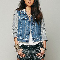 Free People Womens Knit Hooded Denim Jacket