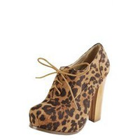 Bonnibel Elodie1 Leopard Laced Suede Wood Heel Booties and Womens Fashion Clothing & Shoes - Make Me Chic
