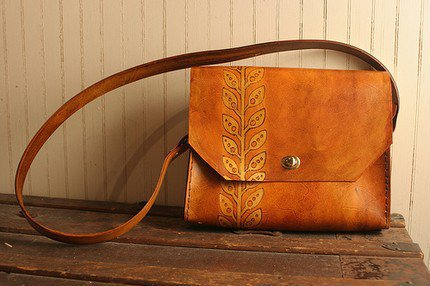 Leif Satchel - Leather in Gold and Antique Tan | moxieandoliver - Bags & Purses on ArtFire