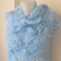 LIGHT BLUE MOHAIR tringle shawlwedding bridal by asuhan on Etsy