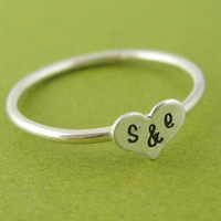Personalized Wide Heart Initials Stacking Ring - Heart Initials Ring