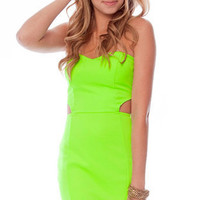 Come Back to Me Sweetheart Dress in Neon Green :: tobi