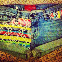Aztec denim shorts  by AngeliqueMerici on Etsy