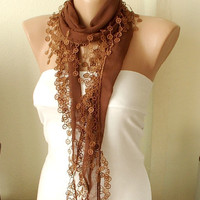 MOTHER'S DAY 25 SALE Brown Cotton Scarf with Circle by Periay