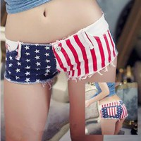 Jeans Shorts with US Flag VCB003