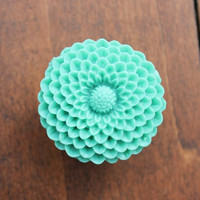 Flower Drawer knobs Mum in Light Green, more COLORS available (MEDIUM) (RFK11)