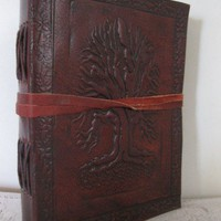 Handmade Leather Journal  Emboss Tree of life Diary Sketchbook handmade paper