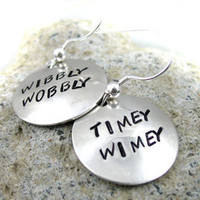Timey Wimey Earrings - Doctor Who Jewelry, Sterling Silver Hand Stamped Earrings | eBay