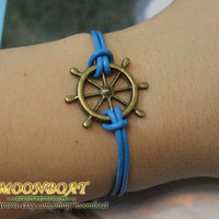Ocean Blue Leather Bracelet Charm Bracelet Brass by moonboat