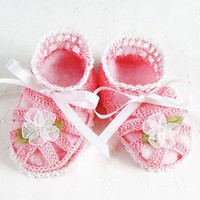 Adorable Crocheted Pink &amp; White Sandal Baby Booties | Luulla