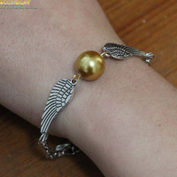 Harry Potter Golden Snitch Bracelet With Two Flying Rings