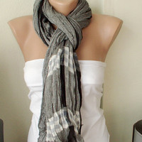 Plain Cotton Black Spring Scarf by Periay on Etsy
