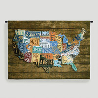 USA Wood Tags Tapestry Wall Hanging | World Market