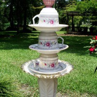 Pink Rose Tea Cup Garden Art | Jardindeverre - Earth Friendly on ArtFire