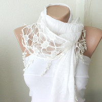 Off White ivory Cotton Scarf with Pine leaf tassel Lace by Periay