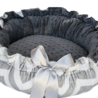 Chevron Gray and White Minky Couture Pet Bed