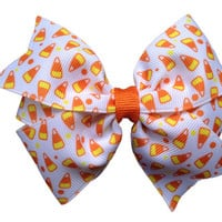 Candy corn hair bow - Halloween bow, candy corn bow