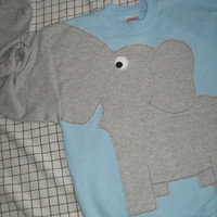 Elephant sweater Trunk sleeve sweatshirt jumper UNISEX Medium  powder blue
