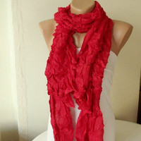 NEW 2012 Spring Model RED Cotton Long Scarf with wrinkle by Periay