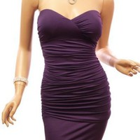 Patty Women Padded Strapless Ruched Clubwear Evening Mini Dress