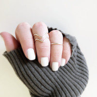 Above Knuckle Ring Set of 3 Silver or Gold Handmade Stacking Rings 2 Chevron 1 Band