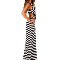BlackWhite Stripe Maxi Dress