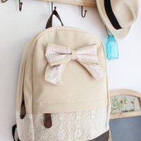 Fashion Lace with Red Floral Bow Backpack-cream