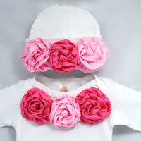 Baby Clothes- Baby Shower Gift- Baby Girl Cotton Layette Set