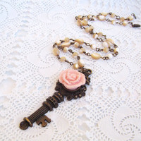 Antique Skeleton Key Necklace, Long Necklace Vintage Inspired, Rose Key Necklace, Mother Of Pearls Necklace, Rose -  Key and Flower Necklace