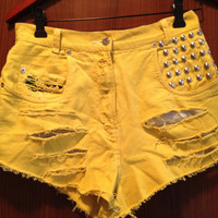 Yellow High Waisted Studded Denim Jean shorts with Tie by Moleek7