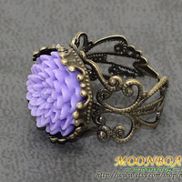 Retro Style Resin Flower Ring 6 Colours Optional MB024 by moonboat
