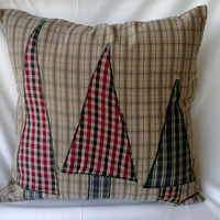 Plaid Trees Pillow Cover 18 X 18 Tan, Red and Green Applique Upcycled Men's Shirts