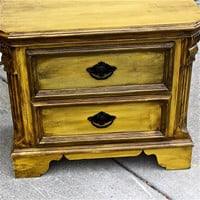 Yellow Distressed Nightstand by AquaXpressions